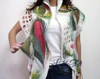 Women Nuno Felted Silk Scarf Shawl Wrap WHITE GREEN RED