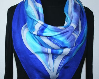Square Silk Scarf Blue Turquoise Periwinkle Hand Painted Silk Shawl BLUE SOULS. Offered in 2 SIZES. Silk Scarves Colorado. Christmas Gift