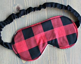 Woman's Travel Accessory, Sleep Mask, Eye Mask, Blindfold, Handmade in Canada, Gift for Her, Red Plaid, Black, Cotton, Spa Mask