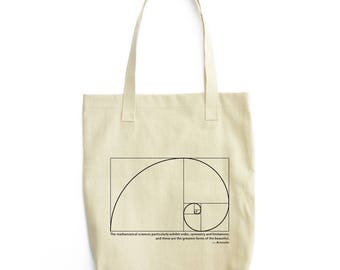 Fibonacci Spiral and Aristotle tote bag