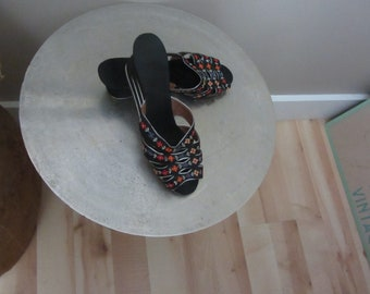 1940s Silk Chinese Slides | 40's Boudoir Slippers MCM Old Hollywood