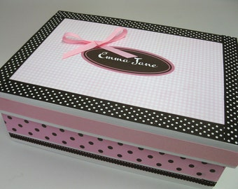 Keepsake Box  Personalized/ Brown and Pink