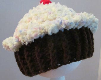 Crochet Cupcake Hat ~ Size XSM ~ Yellow top with sprinkles and dark brown bottom