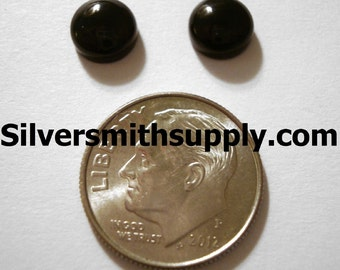 2 Black Onyx High Dome cabochons 7mm diameter round CP006