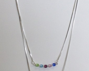 Mother's and or Family Necklace with Birthstone Swarovski Crystals