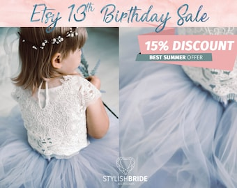 Dusty Blue Flower Girl Dress Ombre, Tulle Lace Dress from Mary Lace, Baby Lace Top Sleeveless, Flower Girl Tulle Dresses