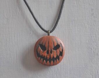 OOAK Halloween Jack O Lantern Pumpkin Polymer Clay Pendant Necklace
