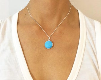 Turquoise Round Pendant Necklace - Silver Necklace - Turquoise Jewelry - Pendant Necklace