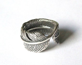 Feather Ring Sterling Silver Feather Ring Raven Feather Bypass Ring Bird Feather Ring 043
