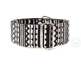 """Taiga, dog collar, black and white, wide sighthound collar, 2"""" martingale, 1.4"""" martingale"""
