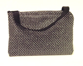Black Silk Purse/ metallic silver bag/ silver purse/ One Of A Kind/ Silver wristlet/ Silver wedding bag/ silver evening purse/ gift for her
