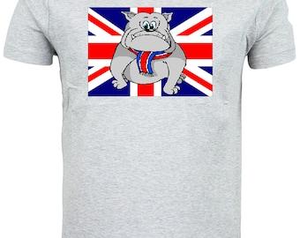 British Bulldog Puppy Union Jack Flag T shirt choice of sizes and colours