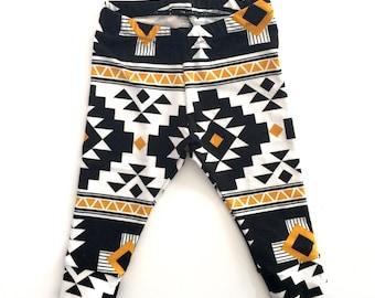 Baby & Toddler Cuff Leggings - Aztec print, Baby Shower gift, Baby clothes, Baby boy leggings, baby girl leggings, trendy baby