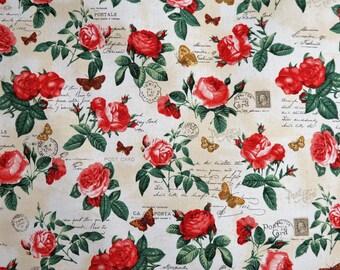 Heirloom Diary Roses & Butterflies Robert Kaufman Fabrics #6284 By the Yard