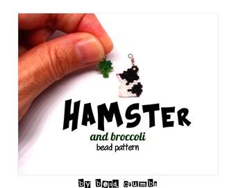 Hamster & Broccoli Bead Pattern, Brick Stitch Beading