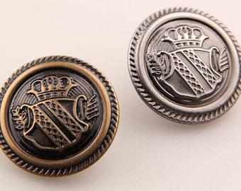6 Pcs 0.59~0.98 Inches Retro Bronze/Gun Shield Crown Metal Shank Buttons For Coats