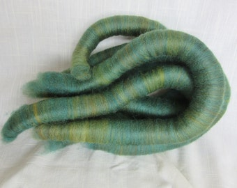 2.2 oz Handcrafted Alpaca Rolags - 1.6 oz Natural Alpaca Hand Dyed Turquoise, blended w/.06 oz BFL Wool - Shades of Yellow, Browns & Greens