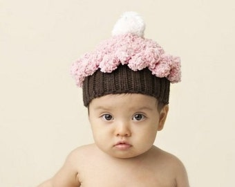 Cupcake Hand Knit Hat for Baby and Child