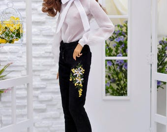 ELENPRIV black velvet pants with hand embroidery for Fashion royalty FR16 and similar body size dolls