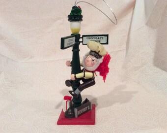 Vintage Hershey's Christmas Village Figures by Kurt Adler wooden Christmas  Ornament, Elf on Lamppost, Street post