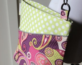 Paisley and Polka Dots Cross Body Hipster Bag
