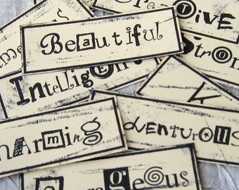 Personality Traits Word Blocks - embellishments for cardmaking, scrapbooking, ACEOs, ATCs and other altered art