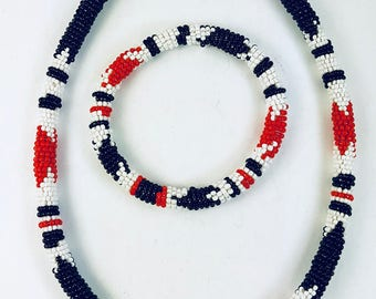 African Beaded Necklace Bracelet-Red Black White Seed Beads-Boho Necklace-Geometric Pattern Vintage