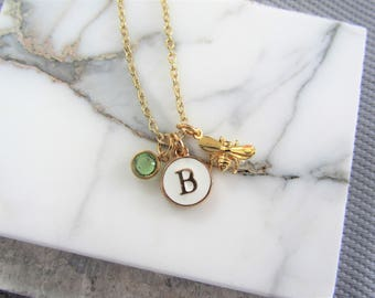 Gold Bee Initial Necklace, Gold Bee and Birthstone Necklace, Gift for Her, Gold Jewelry, Personalized Gift for Her, Bee Necklace
