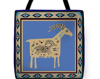 Southwest Mimbres Tribal Mother Ram With Baby Tote Bag - Mountain MaMa Ram Throw Pillow - Maternity Mom's Gift - Baby Shower Tote Bag Gift