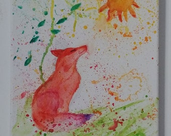 Fox in the Summer Wind Watercolor