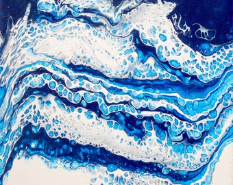"""9"""" x 12"""" Original Acrylic Fluid Paint Artwork, Acrylic pour, Abstract art, Abstract painting wall art  - """"Waves"""""""