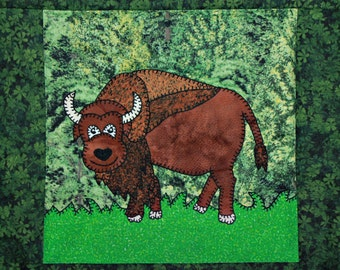 Bison or buffalo PDF applique quilt block pattern; North American forest or plains animal quilt; kid's or baby boy quilt block pattern
