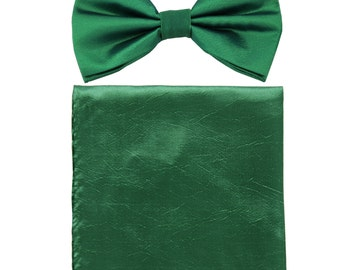 Men's Chintz Teal Green Pre-Tied Bowtie and Handkerchief, for Formal Occasions