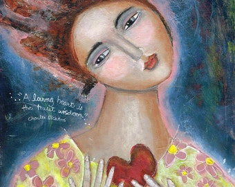 Special Price Free Shipping Mixed Media Painting Print  Modern Folk Art  Expressive Heart Love