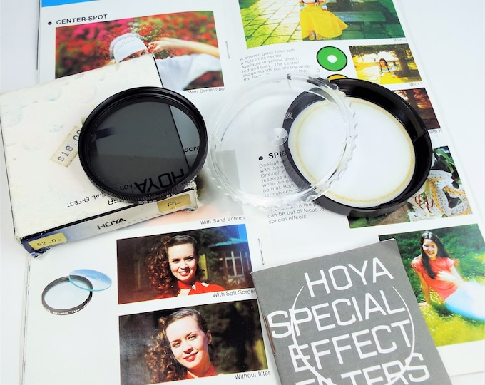 Hoya PL 52mm Metal and Glass Polarizer Filter - Japan - Original Box and Case with 35 Page Hoya Catalog from 1979 - Near Mint