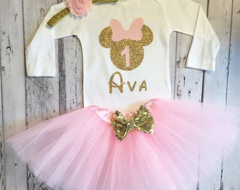 Pink and Gold Personalized Minnie Mouse 1st Birthday Outfit Cake Smash Minnie Mouse 1st Birthday Shirt Pink and Gold Minnie Birthday Party