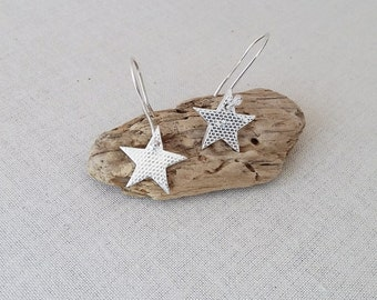 Eco Silver Sparkly Star Drop Earrings, recycled silver, handmade gift for her, earrings for her,alternative Valentine's Day Gift