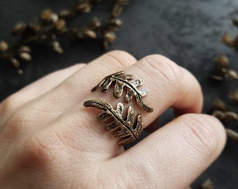 Double Fern Ring - Bronze or Sterling Silver - made by Jamie Spinello
