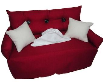 Bordeaux red Handkerchief sofa-fabric tissue box cover