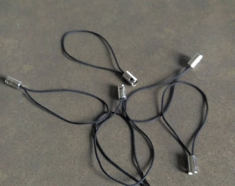 10 phone strap black cord ties