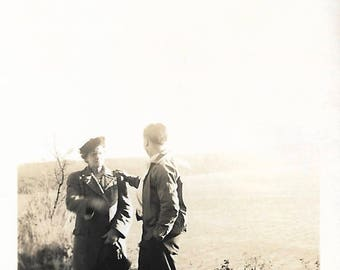 """Vintage Snapshot """"Giving Reassurance"""" Young Man Comforts Elderly Woman Found Vernacular Photo"""