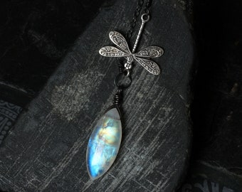 """Moonstone Necklace, Dragonfly Necklace, Moonstone Jewelry, Moonstone Pendant, Oxidized Sterling Silver, CircesHouse, """"Moonwings"""""""