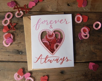 Forever and Always Glitter Confetti Card // Heart Shaped Window // Handmade Valentine's Day card // Anniversary Card