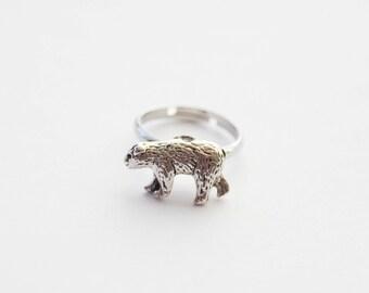 Mama Bear Ring, Silver Bear Ring, Tiny Bear Ring, Mama Bear Jewelry, New Mom Gift, Mother's Day gift, Teddy Bear Ring, Adjustable ring