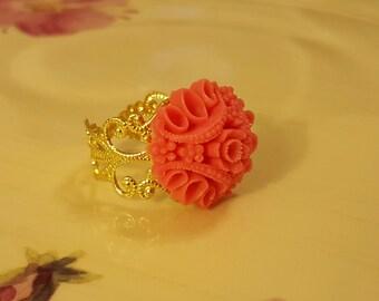 RING: Striking Adjustable Ring Orange Salmon Flower Cabochon on a Gold Filigree Adjustable Setting