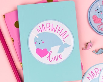 SALE: Narwhal Love 8cm Vinyl Sticker | narwhals stickers circular