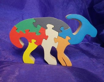 the parasaurolophus painted wood. decorative object
