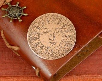 Sun brooch, sun jewellery, copper brooch, copper jewellery, celestial brooch, summer jewellery, sunshine jewelry, gift for history lover