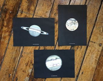 c. 1959 - 3 PLANET LITHOGRAPHS - set of 3 original vintage prints - saturn - mars - jupiter - astronomy solar system prints