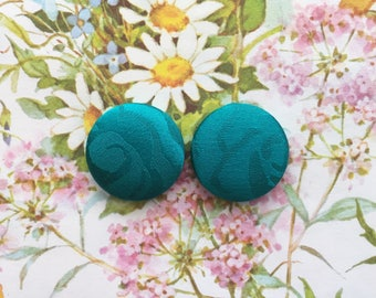 Fabric Covered Button Earrings / Emerald Green / Handmade Jewelry / Wholesale / Small Stud Earrings / Bridesmaid Presents / Gifts for Her